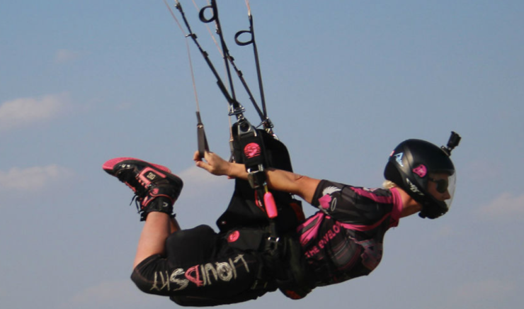 Women skydiving